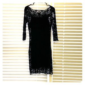 Lauren Ralph Lauren little black crochet dress.